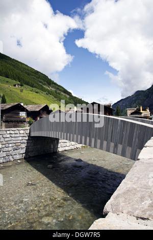 Modern bridge in Vals, Switzerland - Stock Photo
