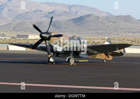 Mk. XIV Supermarine Spitfire sits on the tarmac at Stead Field in Nevada - Stock Photo