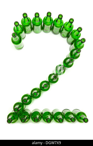 Digits from green beer bottles. Digit  2 - Stock Photo