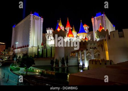 Excalibur hotel lite up at night Las Vegas - Stock Photo