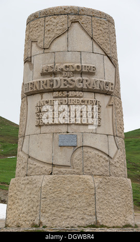 The monument to Henri Desgrange, director of the Tour de France, on the Col du Galibier in France - Stock Photo