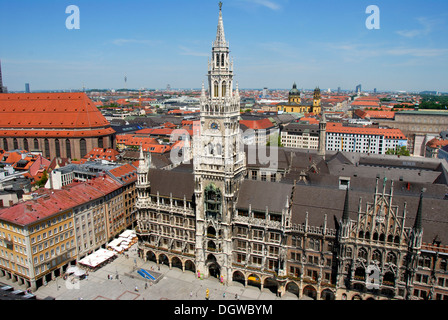 View from the 'Alter Peter' tower, St. Peter, of Marienplatz square, New Town Hall, neo Gothic architecture, city - Stock Photo