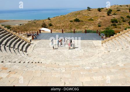 Travel group, study trip, archeology, antiquity, archeological site, Greco-Roman Theatre, Kourion, Episkopi near - Stock Photo