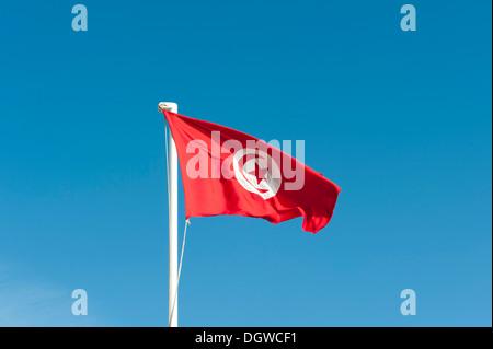 Tunisian national flag, Tunisia, North Africa, Africa - Stock Photo