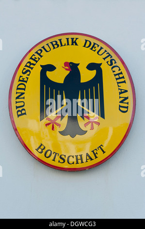 Embassy sign, German embassy, Botschaft, Bundesrepublik Deutschland, Federal Republic of Germany, Reykjavik Iceland - Stock Photo