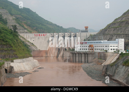 Production of electricity, dam, hydropower plant in the river, Jiangcheng, Pu'er City, Yunnan Province - Stock Photo