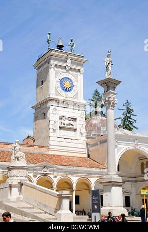 Piazza Libertà square with clock tower and columns of the Loggia di San Giovanni, old town, Udine, Friuli-Venezia - Stock Photo
