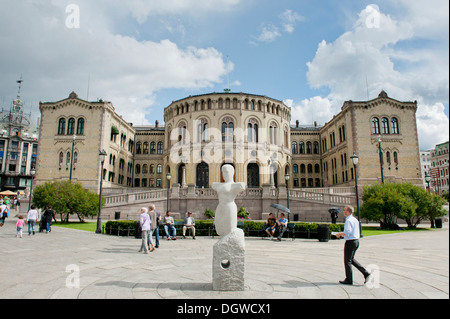 Assembly Hall, Parliament, the Storting building, Storthinget, inner city, Oslo, Norway, Scandinavia, Northern Europe, - Stock Photo