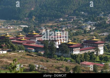 Fortress Monastery of Trashi Chhoe Dzong, seat of government, Thimphu, capital city, Kingdom of Bhutan, South Asia, - Stock Photo