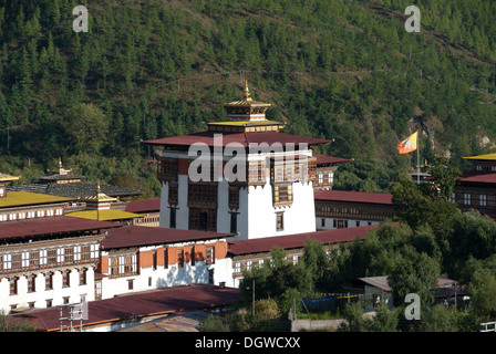 Central building of the Fortress Monastery of Trashi Chhoe Dzong, seat of government, Thimphu, capital city, Kingdom - Stock Photo