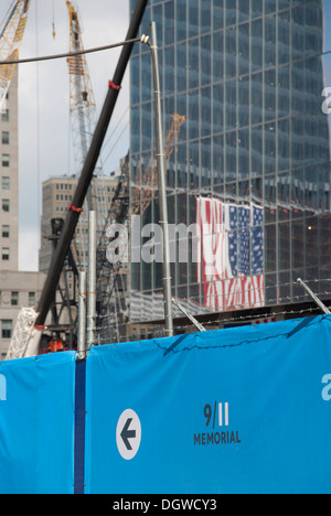 Construction site, reflection of an American flag, 9-11 Memorial, Ground Zero, New York City, USA, North America, - Stock Photo