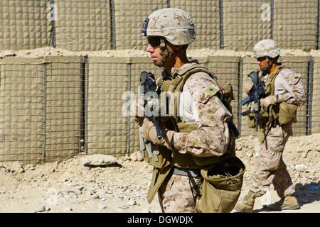 U.S. Marine Corps Lt. Col. Daniel Wittnam, battalion commander of 3rd Battalion, 7th Marine Regiment, patrols in - Stock Photo