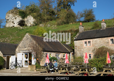 Customers at Wetton Mill tea rooms, Wetton, Peak District National Park, Staffordshire, England, United Kingdom - Stock Photo