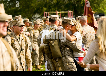 MARINE CORPS BASE CAMP LEJEUNE, N.C. - Marines and sailors with Fox Company, 2nd Battalion, 2nd Marine Regiment, - Stock Photo