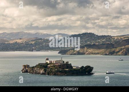 The former prison island of Alcatraz in San Francisco Bay, San Francisco, California, USA, North America - Stock Photo