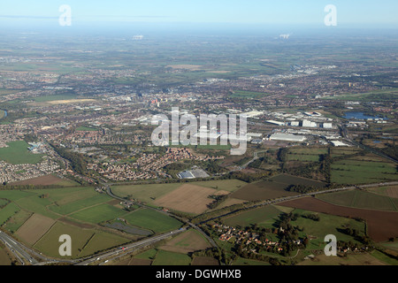 aerial view of Doncaster town centre skyline - Stock Photo