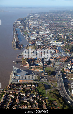 aerial view of the north Humber Estuary and Hull, East Yorkshire - Stock Photo