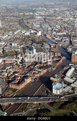 aerial view looking north up the River Hull from Myton Swing Bridge in Hull, East Yorkshire - Stock Photo
