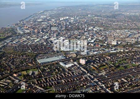 aerial view of Hull in East Yorkshire - Stock Photo