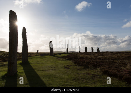 Islands of Orkney, Scotland. Picturesque silhouetted view of Orkney's historic Ring of Brodgar. - Stock Photo