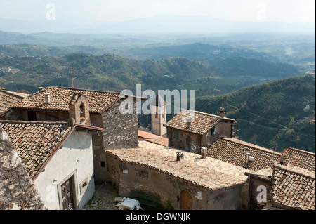 View over the rooftops of the old town from Monte Celeste on a painter's landscape, Olevano Romano, Lazio, Italy, - Stock Photo
