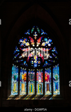 Large stained-glass window, St Michael's Parish Church, Linlithgow Castle, Linlithgow, Scotland, United Kingdom - Stock Photo
