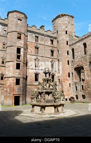Castle ruins, Linlithgow Palace, courtyard, old fountain, West Lothian, Linlithgow, Scotland, United Kingdom - Stock Photo