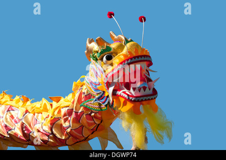 Chinese dragon with blue sky background - Stock Photo