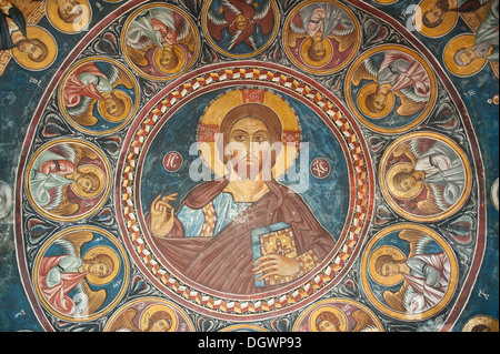 Jesus Christ Pantocrator, finely crafted fresco in the dome of the Greek Orthodox Church of Cyprus, Panagia tis - Stock Photo