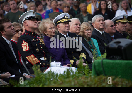 U.S. Marine Corps Sgt. Maj. Michael P. Barrett, left, 17th Sergeant Major of the Marine Corps, attends the 30th - Stock Photo