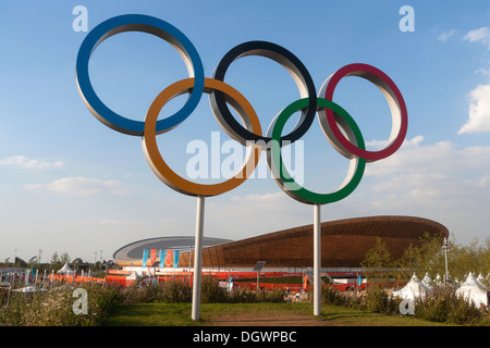 Olympic rings, Velodrome, Olympic Park, London, England, United Kingdom, Europe - Stock Photo