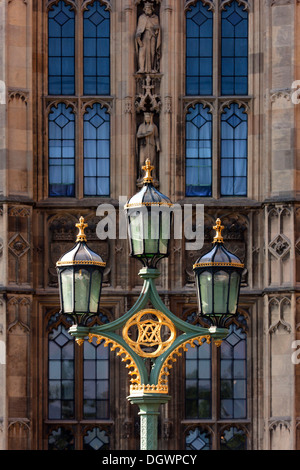Old street lamp in front of Big Ben, London, England, United Kingdom, Europe - Stock Photo