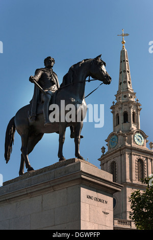 King George IV equestrian statue in front of St. Martin in the Fields Church, Trafalgar Square, London, England, - Stock Photo