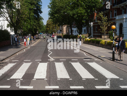 Zebra crossing of the famous Beatles album cover, Abbey Road, London, England, United Kingdom, Europe - Stock Photo