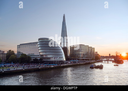 The Shard Tower, City Hall, River Thames, view from Tower Bridge at dusk, London, England, United Kingdom, Europe - Stock Photo