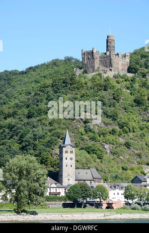 Mouse Castle above Wellmich, Germany - Stock Photo