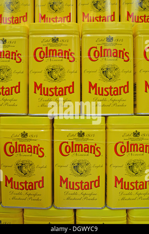 Cans of Colman Mustard in window of Colman's Mustard Shop & Museum, The Royal Arcade, Norwich, Norfolk, England, - Stock Photo