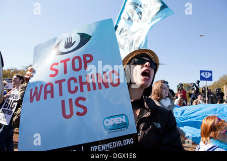 Washington, DC USA. 26th Oct, 2013. :  Thousands of citizens and many public advocacy organizations gather to rally - Stock Photo
