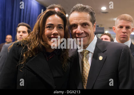 Albertson, New York, U.S. 26th October 2013. New York Governor ANDREW CUOMO, at right, poses for a photo after he - Stock Photo