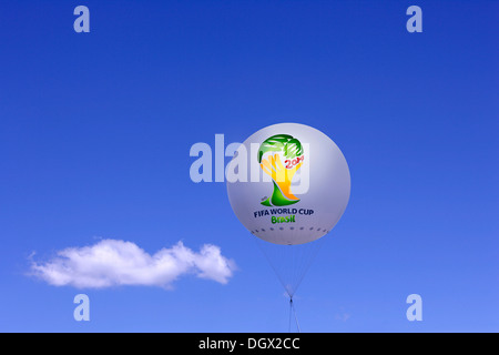 Tethered balloon with the FIFA logo of the Football World Cup 2014 in Brazil, Bavaria, Germany - Stock Photo