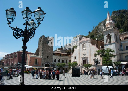 Church of San Giuseppe, Piazza IX Aprile square, Taormina, Sicily, Italy, Europe - Stock Photo
