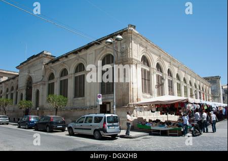 Market hall, Siracusa, Syracuse, Ortygia Island, Ortigia, Sicily, Italy, Europe - Stock Photo