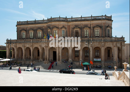 Town Hall, Palazzo Ducezio, Noto, province of Syracuse, Sicily, Italy, Europe - Stock Photo