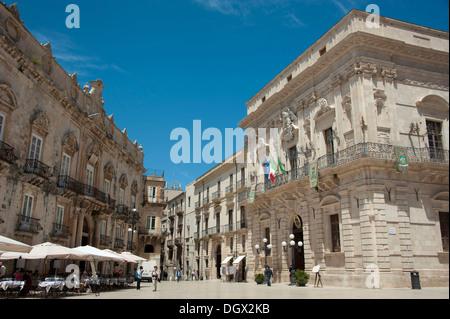 Town Hall on Piazza Duomo, Cathedral Square, Vermexio Palace, Siracusa, Syracuse, Ortigia, Ortygia Island, Sicily, - Stock Photo