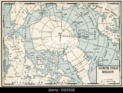 Old map of North Pole Arctics 1930s Stock Photo Royalty Free