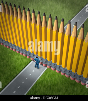 Planning adversity and strategy obstacle as a business concept and metaphor for challenges in following a goal driven - Stock Photo