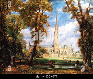Salisbury Cathedral from the Bishop's Grounds - by John Constable, 1825 - Stock Photo