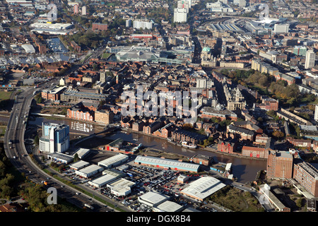 aerial view of Hull, from the east looking west across the River Hull waterfront - Stock Photo
