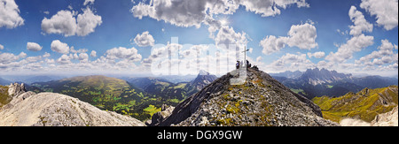 360° panoramic view as seen from the summit of Tullen mountain, Aferer Geisler Mountains, Villnoesstal valley - Stock Photo