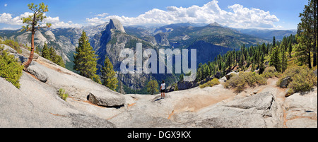 Glacier Point with views of Yosemite Valley with the Half Dome, Clacier Point, Yosemite National Park, California, - Stock Photo